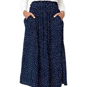 Naggoo Navy Blue Polka Dot High Waisted Skirt Med